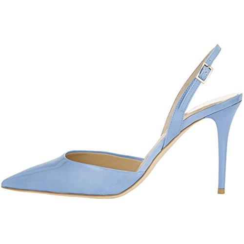 EKS Damen Spitze Gurt Stilett Mid Heels Sandalen Blau