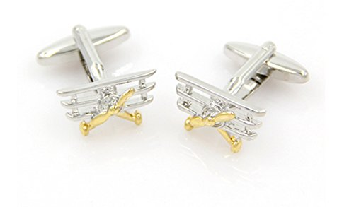 Gudeke The King Air Airplanes 1920s Three-wing Aircraft Men's Cufflinks Trois-aile Avion Pour des hommes Boutons de manchette