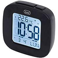 Trevi SLD 3860 Orologio con Display Retroilluminato, Termometro, Calendario Multilingue, Funzione Snooze, Nero