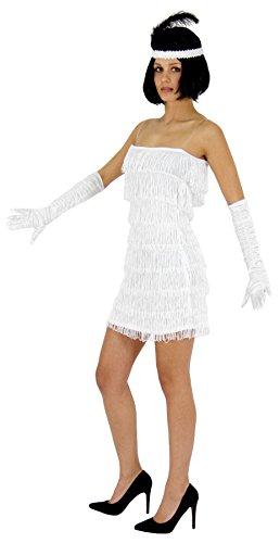 Foxxeo 40201 | 20er Jahre Damen Kleid Charleston Kostüm Fransen weiß, Größe:XL