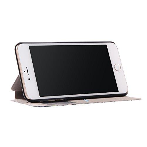 Voguecase® für Apple iPhone 7 hülle,(Bleistift) Sichtfenster Kunstleder Tasche PU Schutzhülle Tasche Leder Brieftasche Hülle Case Cover + Gratis Universal Eingabestift C/Weiß Blume 04