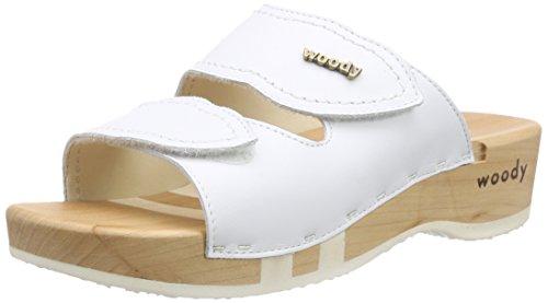 Woody Melanie, Mules Femme Blanc - Blanc