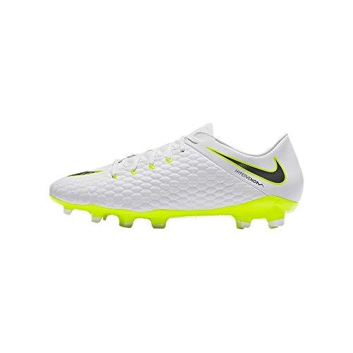 Nike Bota Hypervenom Phantom III Academy FG Talla 41, Color Blanco, Amarillo Flúor