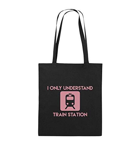 Borse Comiche - Capisco Solo La Stazione Ferroviaria - Borsa Di Juta - Manico Lungo - 38x42cm - Colore: Nero / Rosa Nero / Rosa