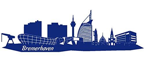 Samunshi® Wandtattoo Bremerhaven Skyline Wandaufkleber in 5 Größen und 19 Farben (170x50cm königsblau)