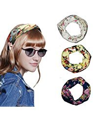 Honfill, Kopfband, Boho Floal Stil Criss Cross Frauen Vintage Floral Haarband mit 3 Pack Elastic Turban für Mode Party, Tänzerin, Sprots, yogastic Turban für Mode Party, Tänzerin, Sport, Yoga, Set 2