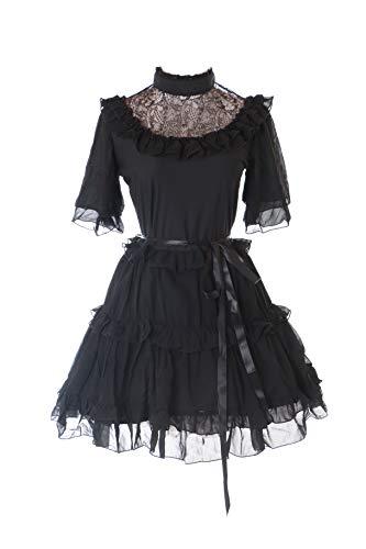 Kawaii-Story JL-623-1 Schwarz Chiffon Spitze Vampir Dark Gothic Kurzarm Lolita Abend-Kleid Kostüm Cosplay - Chiffon Spitze Kostüm