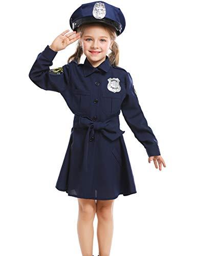 A&J DESIGN Kind Mädchen Kinder Polizei Karneval Polizei Mädchen Kostüm (Blau, L/9-11 Jahre) (Mädchen Polizei Kostüme)