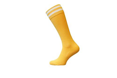 reifen Unisex Kniestrümpfe Fußball Rugby Fußball Laufen Sport Socken Erwachsene Jugendliche Kinder Größen in - gelb - Adult 7-11 ()