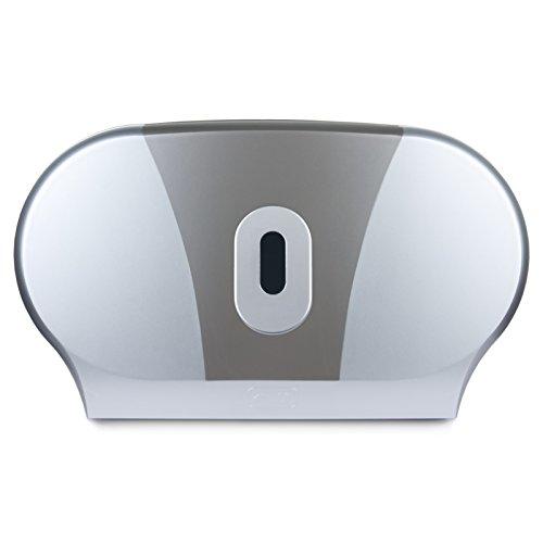 Doppel-Mini-Jumbo-Toilettenpapierhalter - Duo-Papierhalter - Für gewerbliche Badezimmer - Silber / Grau