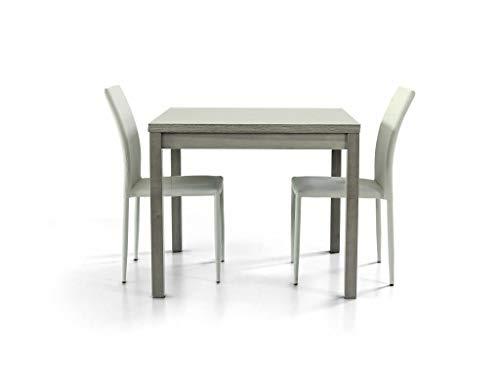 Milani Home s.r.l.s. Tavolo da Pranzo Moderno di Design APRIBILE A Libro Rovere Grigio CM 90 X 90/180 per Interno Sala da Pranzo
