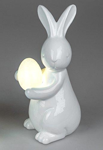 ase stehend mit Ei LED-Licht aus glasiertem Porzellan weiß 23x27cm (Stehend Ei)