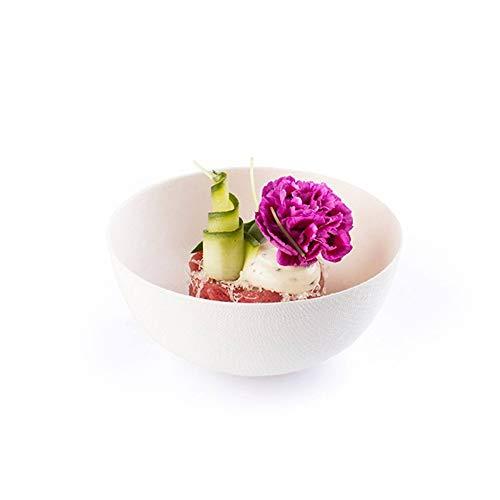 Schüssel aus Zuckerrohr in Weiß rund 15cl, Ø90xH40mm | Bio Einweg Snackschüssel Schale Salatschüssel | 40 Stück -