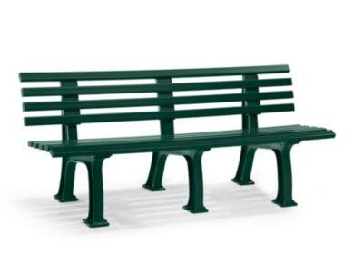 Parkbank aus Kunststoff - mit 9 Leisten - Breite 2000 mm, moosgrün - Bank Bank aus Holz\, Metall\, Kunststoff Bänke aus Holz\, Metall\, Kunststoff Gartenbank Kunststoff-Bank...