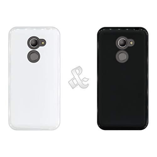 Pack [2 Stück] Hülle [Klar + Schwarz] für [Vodafone Smart N8] - Handyhülle Silikon Flexibel Gel, Stoßfest, Harte Schutzhülle, Schutz vor Kratzer & Staub