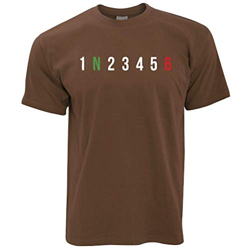 Chocolate Brown T-shirt (Rad Fahren T-Shirt 1 N 2 3 4 5 6 Motorrad Gears Chocolate Brown XX-Large)