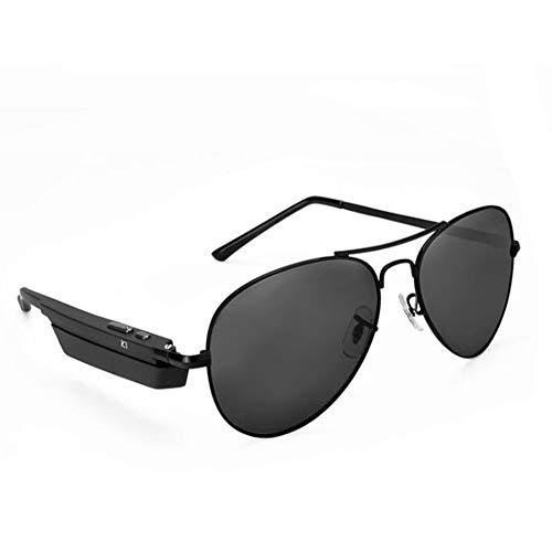 KCaNaMgAl Smart Bluetooth Sonnenbrille, Bluetooth 4.1 Sport Polarisierte Sonnenbrille Stereo Kopfhörer Sprachsteuerung Outdoor Sport und Freizeit,Black