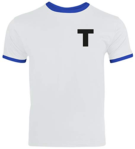 Tsubasa T Trikot Kostüm Herren Ringer T-Shirt Karneval & Fasching Coole Verkleidung Weiß/Blau // XL