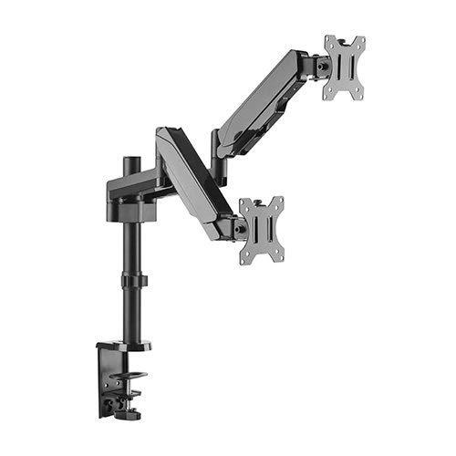 Dual 2 Fach Tischhalterung mit Gasdruckfeder für LED und LCD Monitore bis 32 Zoll VESA 75x75 100x100 HALTERUNGSPROFI OFFICE-GS424 (2 Monitore)