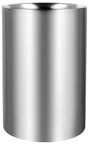 COM-FOUR® Flaschenkühler - Eiswürfelkühler aus Edelstahl, Weinkühler - Eiswürfelkübel doppelwandig in Matt 10 cm Innendurchmesser (01 Stück - Weinkühler)
