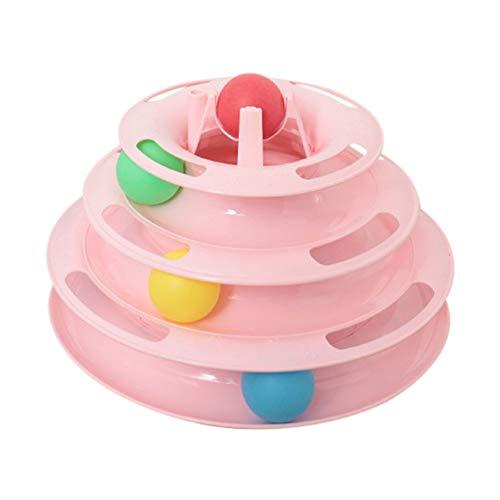 PanDaDa 4 Schichten pet Toys Fun Roller, led licht Ball für Nacht Spielen runde cat Tower Track interaktives Spielzeug - 4-track-lichter