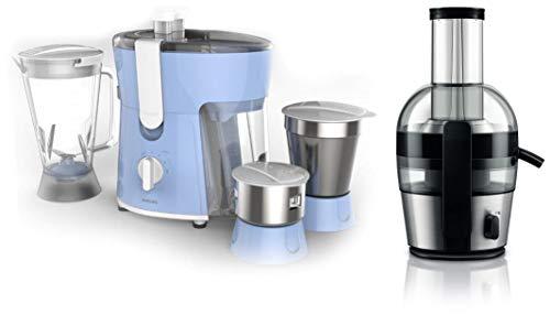 Philips Amaze HL7576/00 600-Watt Juicer Mixer Grinder + Philips Viva Collection HR1863/20 2-Litre Juicer (Black/Silver)