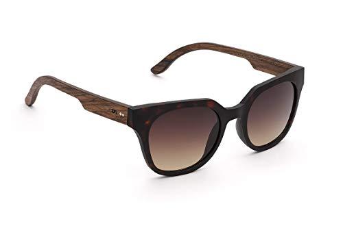 TAKE A SHOT - Cateye Stil, Holz-Sonnenbrille Damen, Holz-Bügel, Kunststoff-Rahmen, UV400 Schutz, rückentspiegelte Gläser