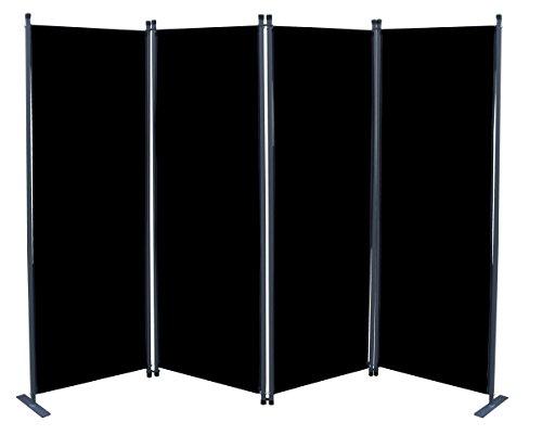 Ersatz Bezug Paravent 4tlg Schwarz Raumteiler Trennwand Sichtschutz