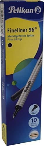 Pelikan 943241 Fineliner 96® Schwarz, 10 Stück in Schachtel