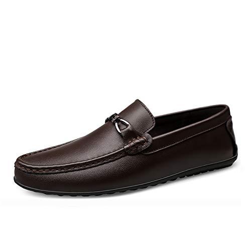 Herrenschuh Loafers Schuhe Schuhe Loafers & Slip-One Business Schuh Leder-Runde Schuh Formal Business arbeiten komfortabel Fashion Soft,Brown,41 Moc Slip