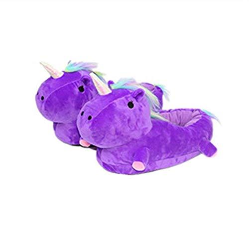 Leisu led unicorno pantofole peluche ciabatte invernali unisex regalo per adulti uomo donna ragazze christmas halloween eu 36-47