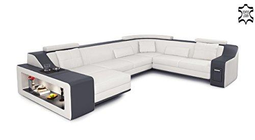 XXL Wohnlandschaft Leder grau / schwarz Couch Sofa U-Form Ledersofa Ledercouch Designsofa mit LED-Licht Beleuchtung EMPORIO - 3