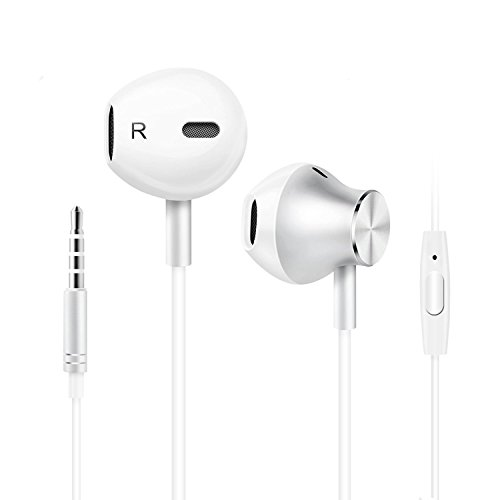In-ear headphones headset, headphone cable, Noise Canceling Headphones Dynamic Sound Crystal clear, ergonomic comfortable, microphone, compatible with iPhone, Android (White)