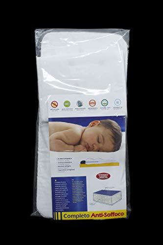 Completo Traspirante - Materassino per Sacca Carrozzina - Antisoffoco, Antiacaro, Anallergico, Ortopedico - Dimensione: 32 x 70 cm - Bianco