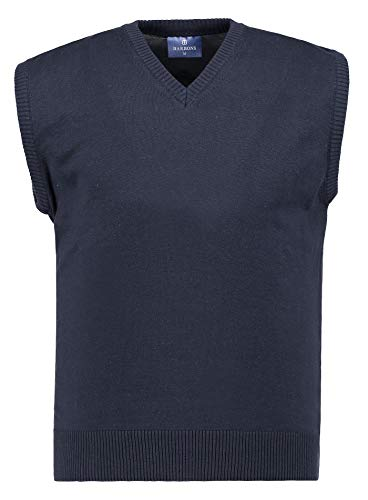 BARBONS Herren Pullunder - V-Ausschnitt - Modern-Fit - Hochwertige Baumwollmischung - Feinstrick-Weste - Navy (Pullunder) XL Baumwoll-pullover Weste