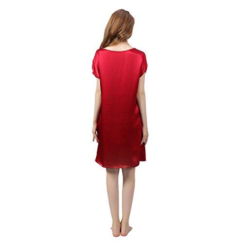 VANSILK 19mm 100% Soie Femme Chemise de Nuit Sexy Nuisette Bretelles Reglables Pure Douceur Robes Peignoir Vin Rouge