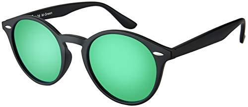 La Optica UV 400 Damen Herren Retro Runde Sonnenbrille Round - Einzelpack Matt Schwarz (Gläser: Grün verspiegelt)