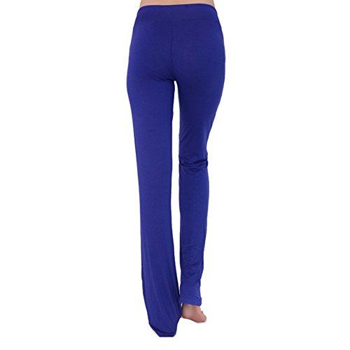 Femme pantalons de sport pantalon décontracté élastique pantalons doux taille haute avec cordon Stretch Fitness pantalon longue moderne hibote bleu polaire