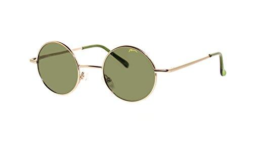 rainbow safety Gafas de Sol Redondas Retro Anteojos para el Sol Mujer Hombre Estilo Lennon Polarizadas (R2317D Dorado-verde)