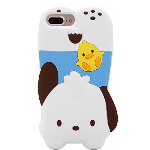 iPhone 6s Plus Hülle, iPhone 7 Plus Hülle, süße 3D Japan Cartoon Schutzhülle stoßfest, weiche Silikon Hülle für Apple iPhone 6 Plus/6S Plus/7 Plus/8 Plus (5,5 Zoll), Pochacco