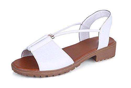 tête sandales plates étudiants femme poisson gros chaussures femmes White
