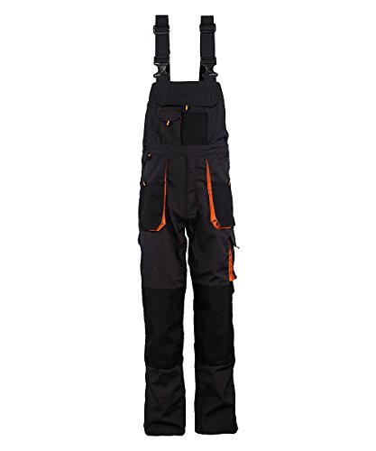 Stenso Emerton© - Mens Bib and Brace Dungarees Overalls - Heavy-Duty - Dark Grey/Black/Orange - 48