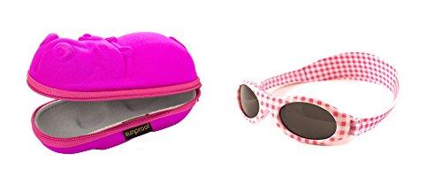 Baby Geschenkpackung rosa Nilpferd-Brillenetui und rosa Karierten Babybanz Sonnenbrille 0-2 Jahre.