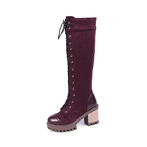 AllhqFashion Damen Hoher Absatz Blend-Materialien Mitte-Spitze Rein Schnüren Stiefel, Braun, 39