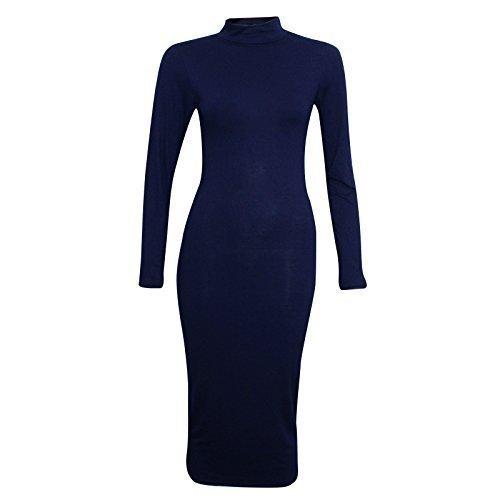 Damen Von Promis Inspiriert Rollkragen Polokragen Langärmlig Damen Figurbetontes Midi Kleid Marineblau - Langärmlig Damen Promis Bodycon Kleid