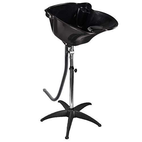 Blitzzauber24 Lave-Tête Basculant de Coiffure Hauteur Réglable Bassin de Cheveux sur Pied pour Salon de Barbier en Acier Inoxydable Noir