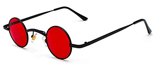 WDXDP Sonnenbrillen Retro Mini Sonnenbrille Rund Herren Metallrahmen Gold Schwarz Rot Kleine Runde Gerahmte Sonnenbrille Für Damen Unisex Uv400Schwarz Mit Klarem Rot