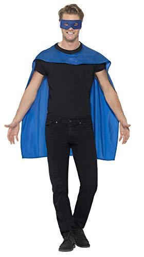Smiffys Unisex Umhang und Augenmaske, One Size, Blau, 41582
