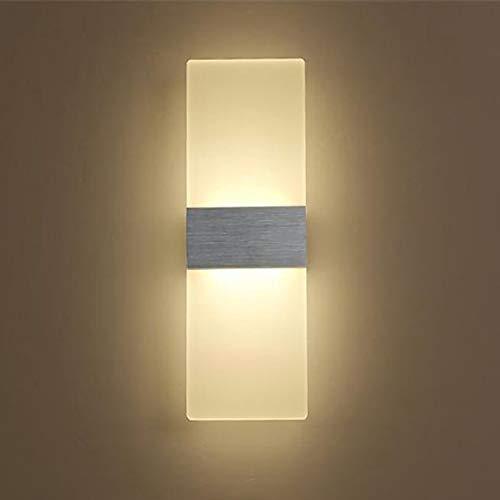 Yafido Applique Murale Interieur LED 12W Lampe Murale Blanc Chaud Verre Design Simple Gris Brosse AC 220V pour Chambre Salon Salle de Bain 29CM