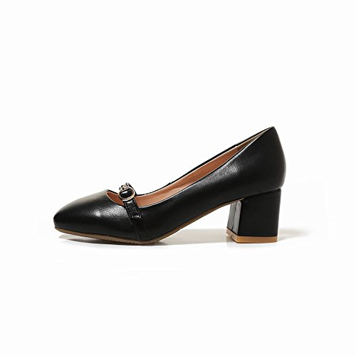 Mee Shoes Damen bequem chunky heels vierkant Pumps Schwarz